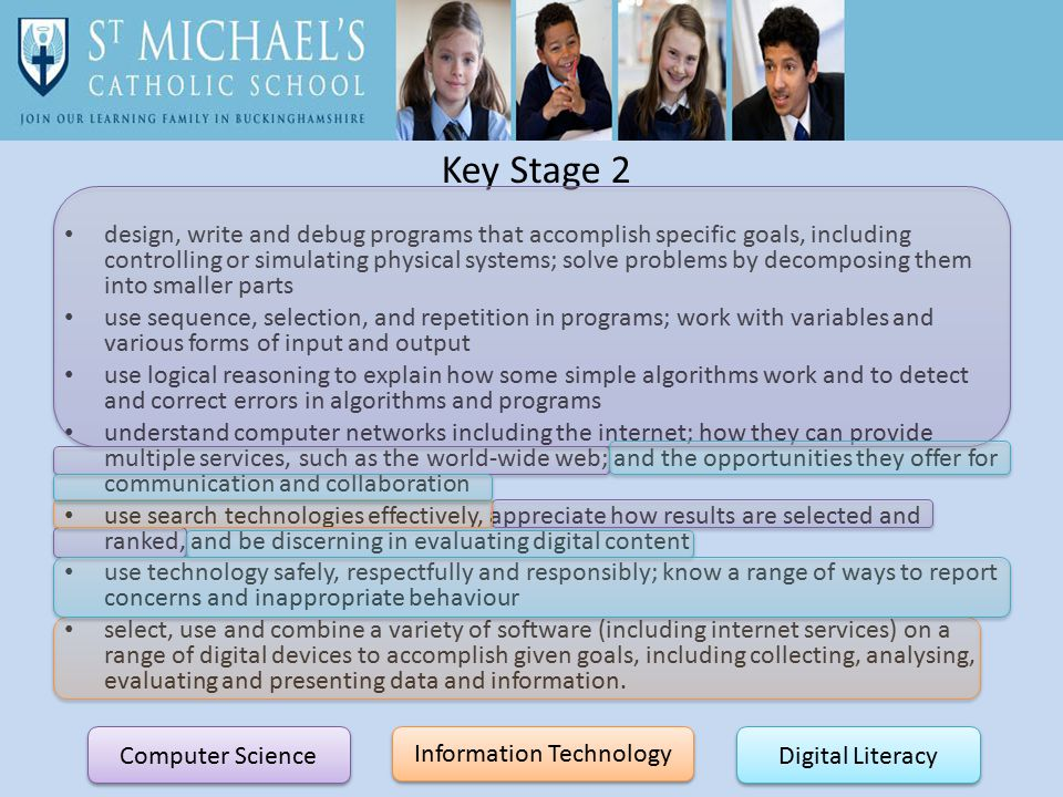 Key Stage 2 design, write and debug programs that accomplish specific goals, including controlling or simulating physical systems; solve problems by decomposing them into smaller parts use sequence, selection, and repetition in programs; work with variables and various forms of input and output use logical reasoning to explain how some simple algorithms work and to detect and correct errors in algorithms and programs understand computer networks including the internet; how they can provide multiple services, such as the world-wide web; and the opportunities they offer for communication and collaboration use search technologies effectively, appreciate how results are selected and ranked, and be discerning in evaluating digital content use technology safely, respectfully and responsibly; know a range of ways to report concerns and inappropriate behaviour select, use and combine a variety of software (including internet services) on a range of digital devices to accomplish given goals, including collecting, analysing, evaluating and presenting data and information.