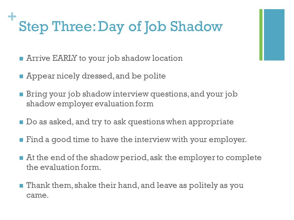 + Step Four: After Job Shadow Type up both the interview worksheet and the responses to your ten questions.