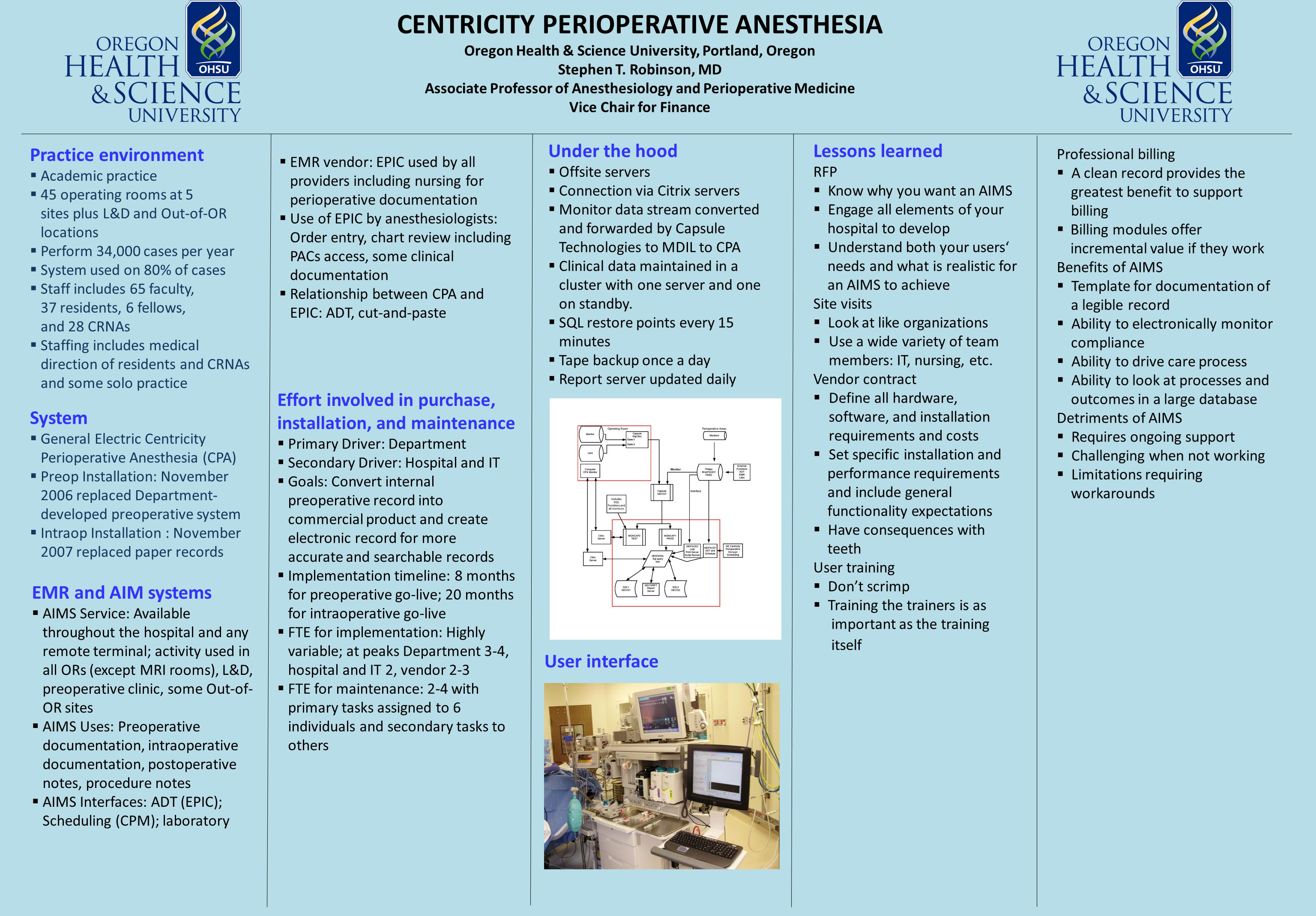 CENTRICITY PERIOPERATIVE ANESTHESIA Oregon Health & Science University, Portland, Oregon Stephen T.