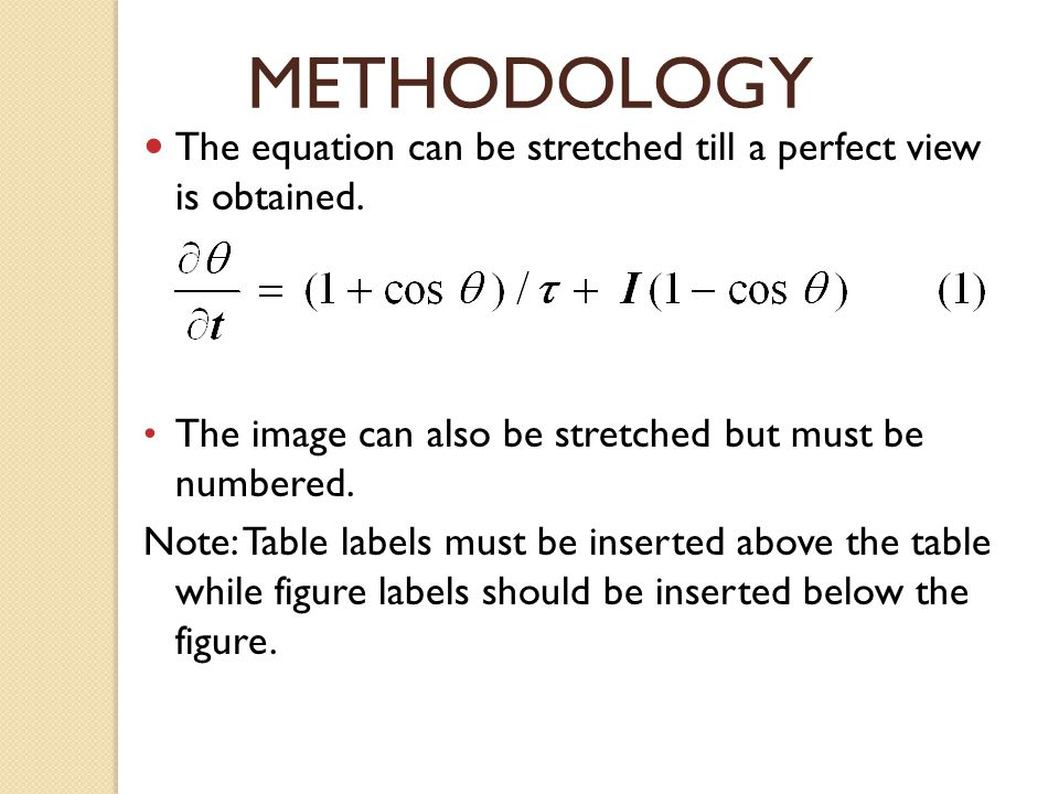 METHODOLOGY The equation can be stretched till a perfect view is obtained. The image can also be stretched but must be numbered. Note: Table labels mu