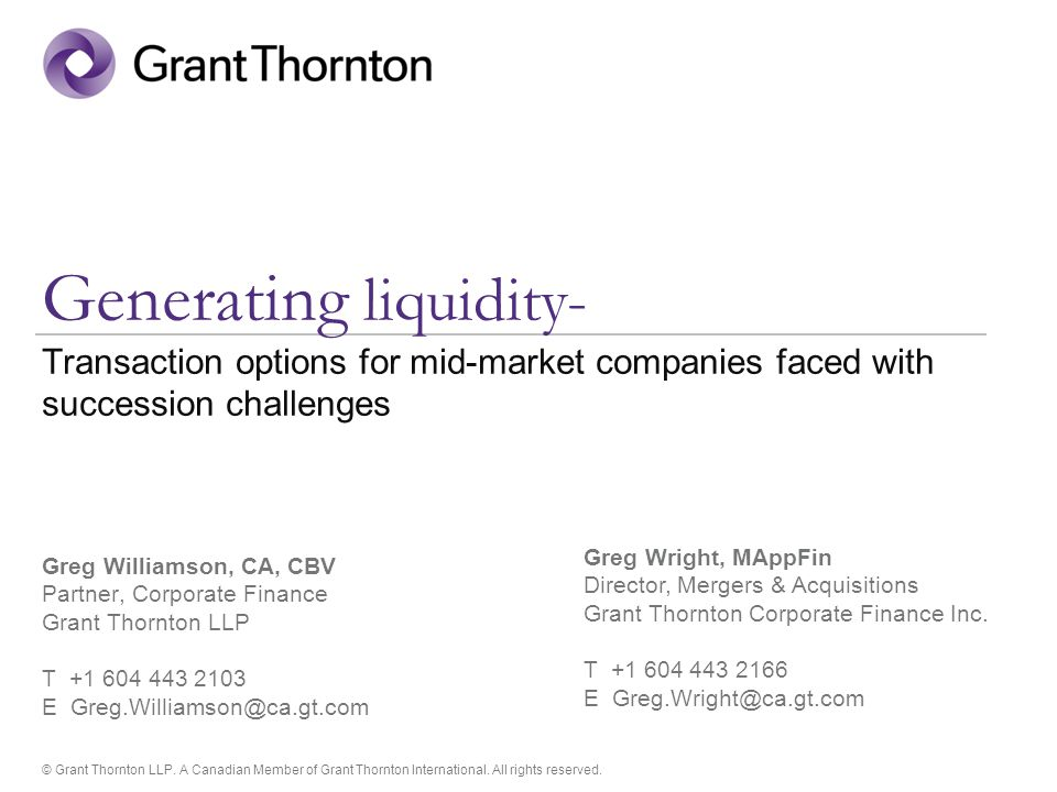 © Grant Thornton LLP. A Canadian Member of Grant Thornton International.