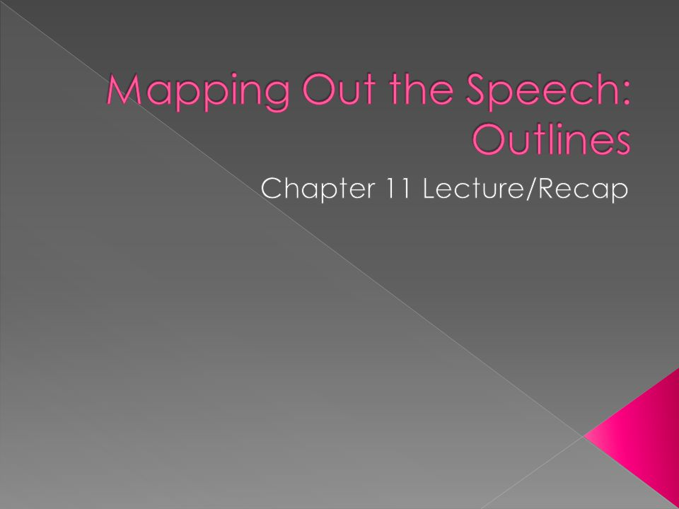  Preparation Outline—map out material › You do not submit a prep outline ; but you should map out your material  Speaking Outline—map out delivery › Similar to the handout you submit for class