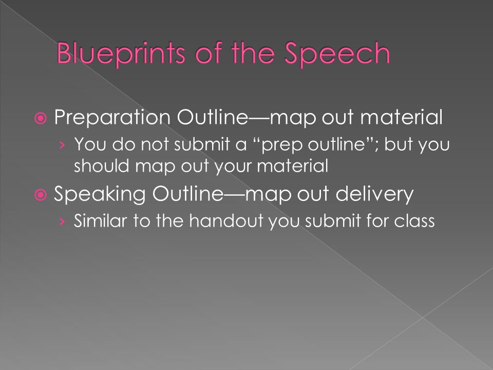 " Preparation Outline—map out material › You do not submit a ""prep outline""; but you should map out your material  Speaking Outline—map out delivery"