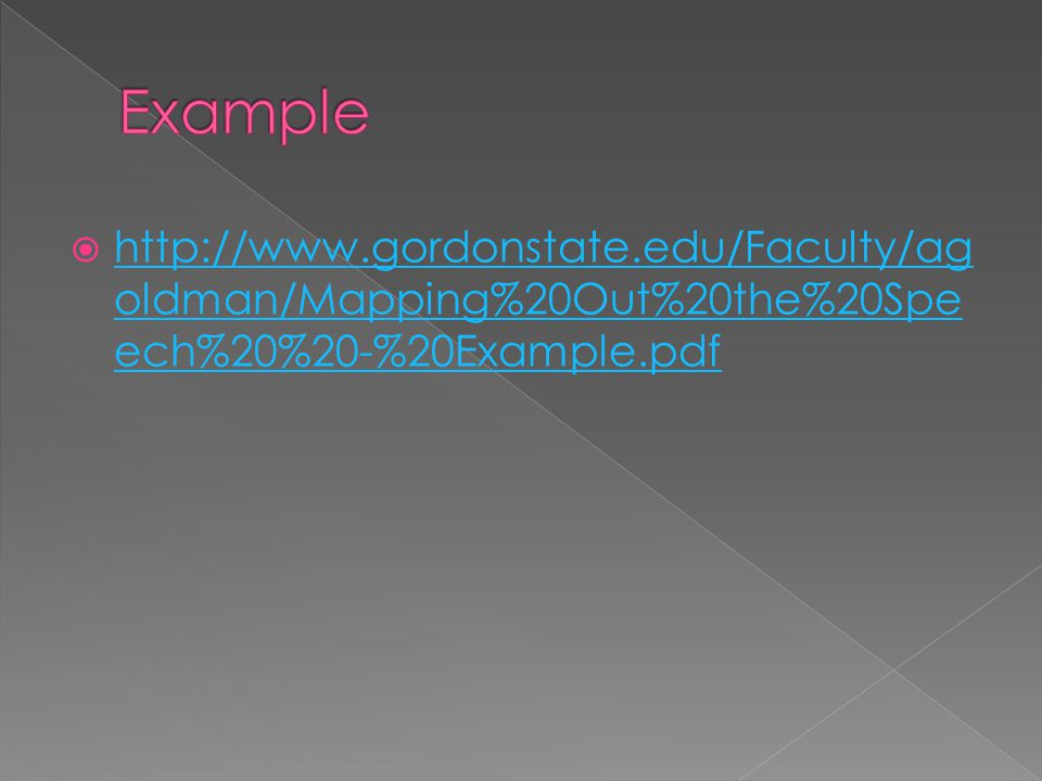  http://www.gordonstate.edu/Faculty/ag oldman/Mapping%20Out%20the%20Spe ech%20%20-%20Example.pdf http://www.gordonstate.edu/Faculty/ag oldman/Mapping%20Out%20the%20Spe ech%20%20-%20Example.pdf
