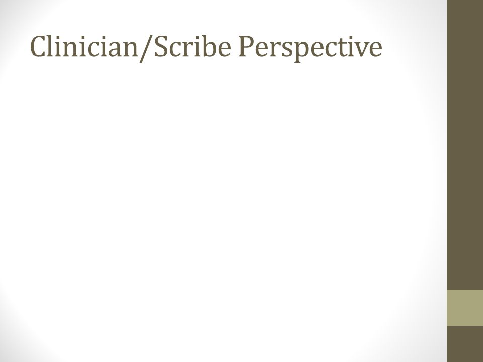 Clinician/Scribe Perspective
