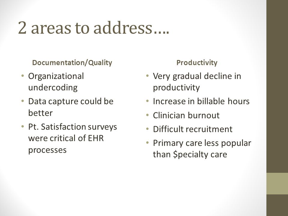 2 areas to address….