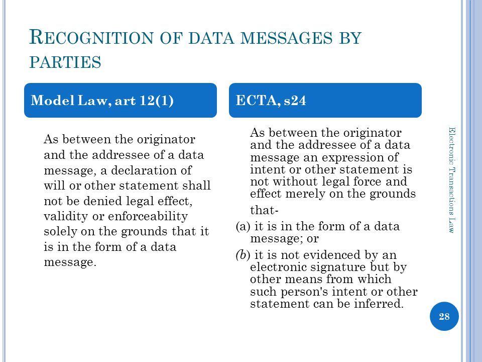 R ECOGNITION OF DATA MESSAGES BY PARTIES Electronic Transactions Law 28 As between the originator and the addressee of a data message, a declaration of will or other statement shall not be denied legal effect, validity or enforceability solely on the grounds that it is in the form of a data message.