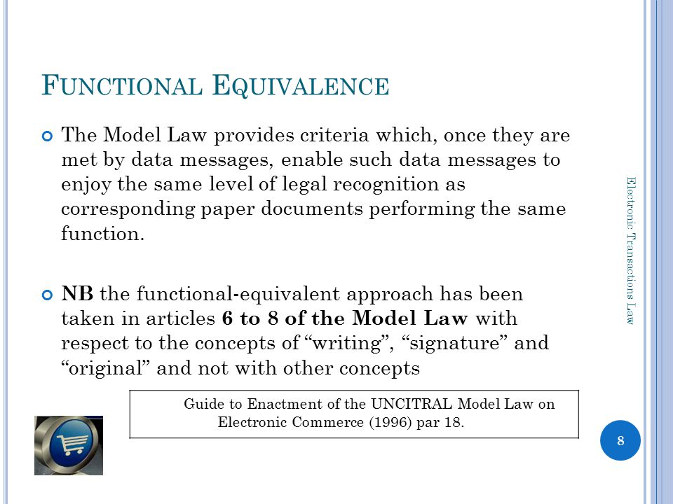 DATA MESSAGE ** Electronic Transactions Law 9 Data message means information generated, sent, received or stored by electronic*, optical or similar means including, but not limited to, electronic data interchange (EDI)*, electronic mail*, telegram, telex or telecopy; data message means data* generated, sent, received or stored by electronic means and includes— ( a )voice, where the voice is used in an automated transaction; and ( b ) a stored record; Model Law, art 2ECTA, s1 **Fundamental concept, hence defined before consideration of 'writing' signature' and 'original' * defined overleaf