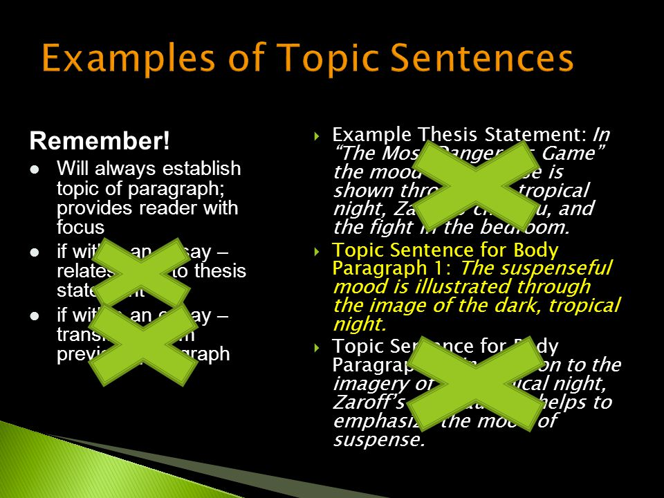 " Example Thesis Statement: In ""The Most Dangerous Game"" the mood of suspense is shown through the tropical night, Zaroff's chateau, and the fight in"
