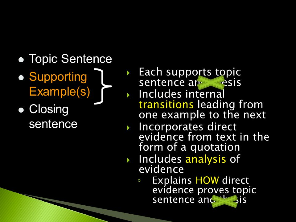  Each supports topic sentence and thesis  Includes internal transitions leading from one example to the next  Incorporates direct evidence from tex