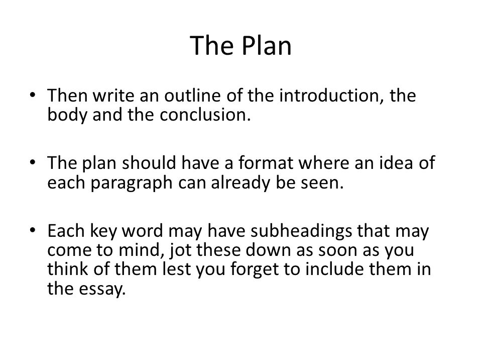 THE FORMAT OF THE ESSAY Each essay must have an introduction, a body and a conclusion.