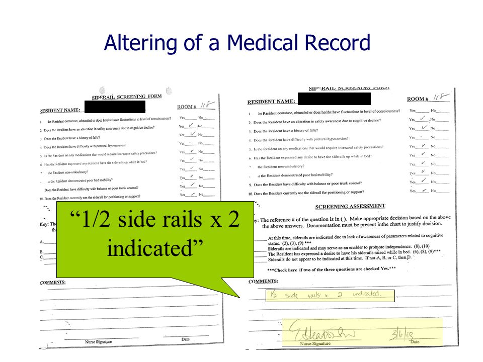 Altering of a Medical Record 1/2 side rails x 2 indicated