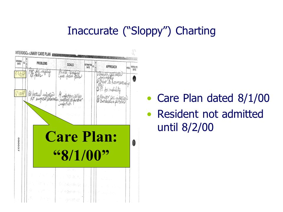 Inaccurate ( Sloppy ) Charting Care Plan dated 8/1/00 Resident not admitted until 8/2/00 Care Plan: 8/1/00