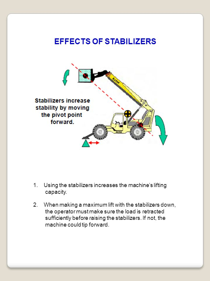 EFFECTS OF STABILIZERS 1.Using the stabilizers increases the machine's lifting capacity. 2.When making a maximum lift with the stabilizers down, the o