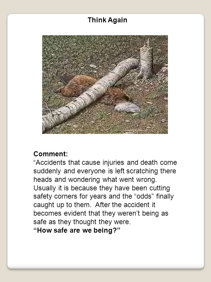 """Think Again Comment: """"Accidents that cause injuries and death come suddenly and everyone is left scratching there heads and wondering what went wrong."""