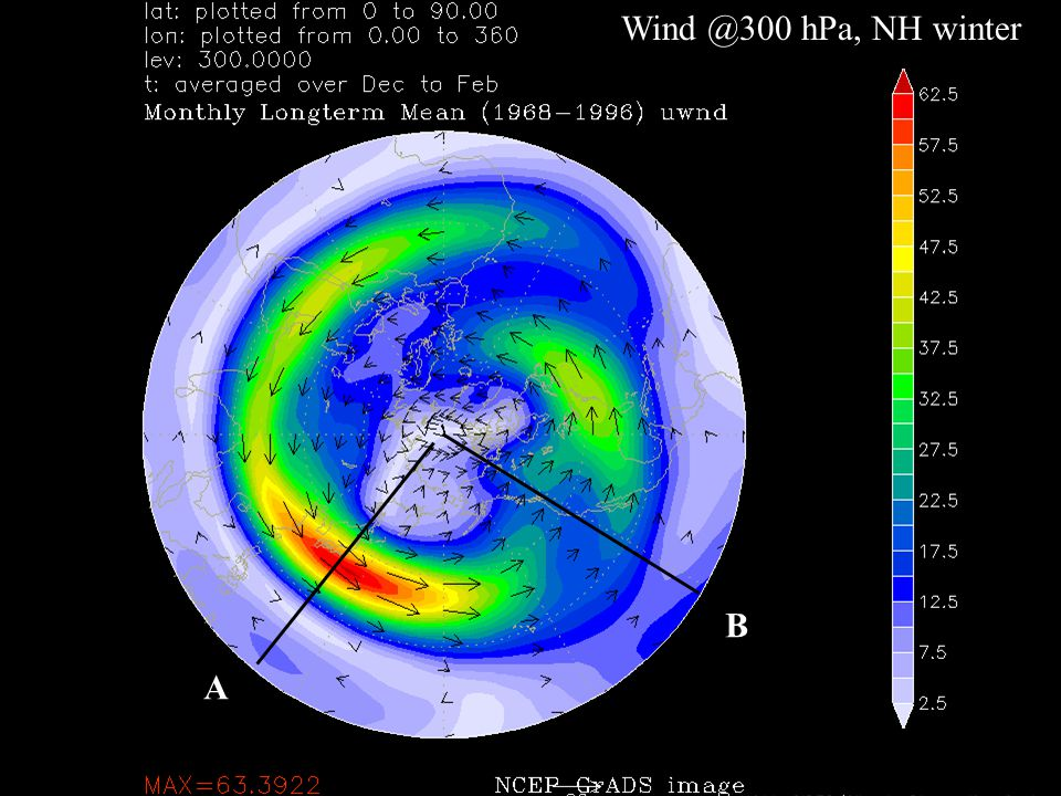 Wind @300 hPa, NH winter A B