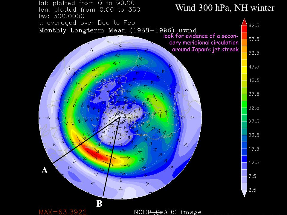 Wind 300 hPa, NH winter A B look for evidence of a secon- dary meridional circulation around Japan's jet streak