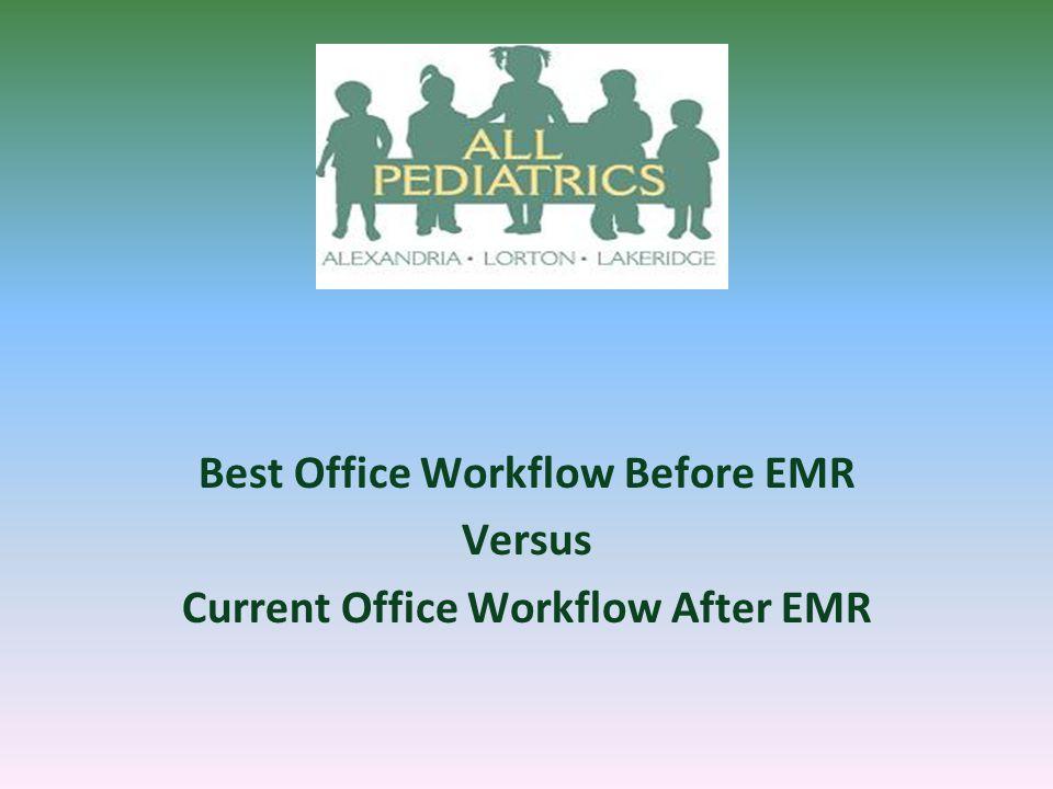 Best Office Workflow Before EMR Versus Current Office Workflow After EMR