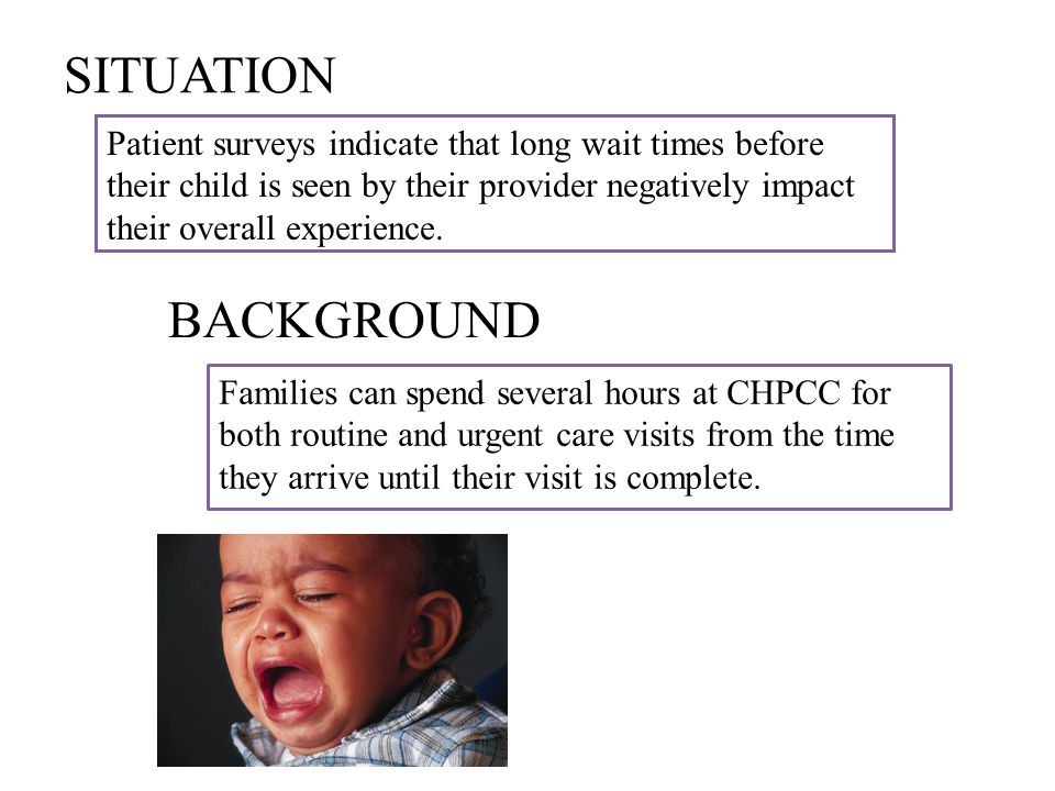 SITUATION Patient surveys indicate that long wait times before their child is seen by their provider negatively impact their overall experience. BACKG