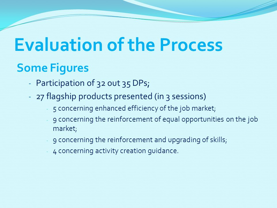Evaluation of the Process Some Figures - Participation of 32 out 35 DPs; - 27 flagship products presented (in 3 sessions) - 5 concerning enhanced effi