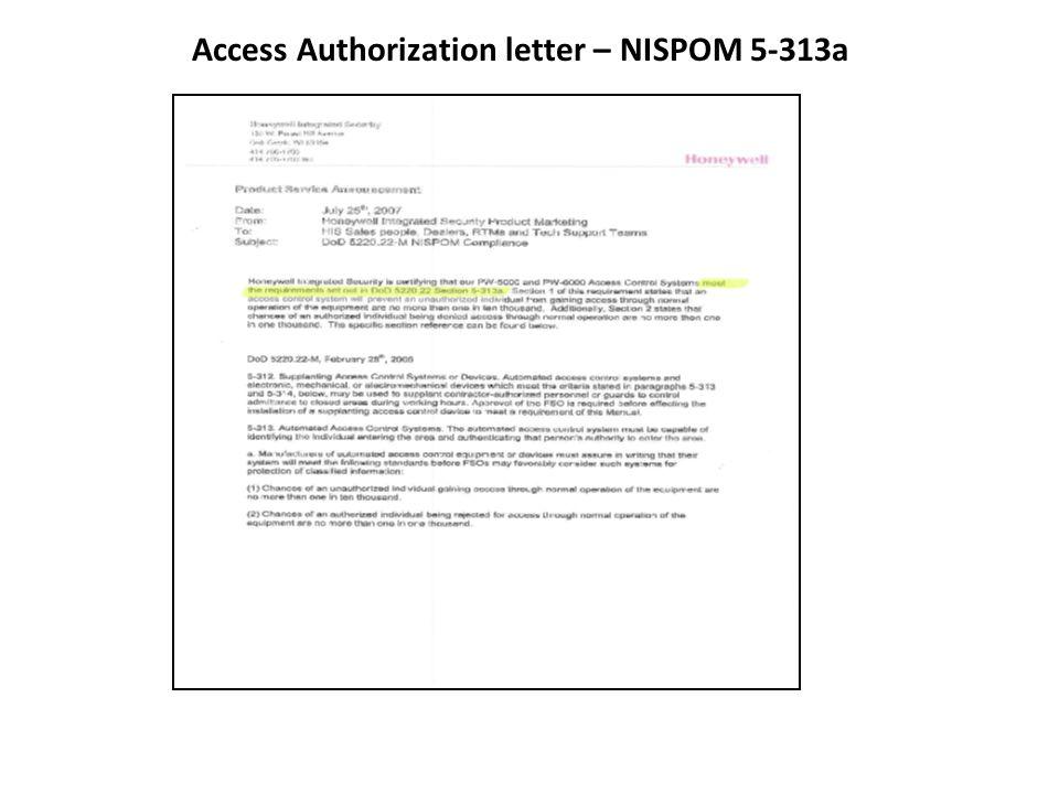 Access Authorization letter – NISPOM 5-313a