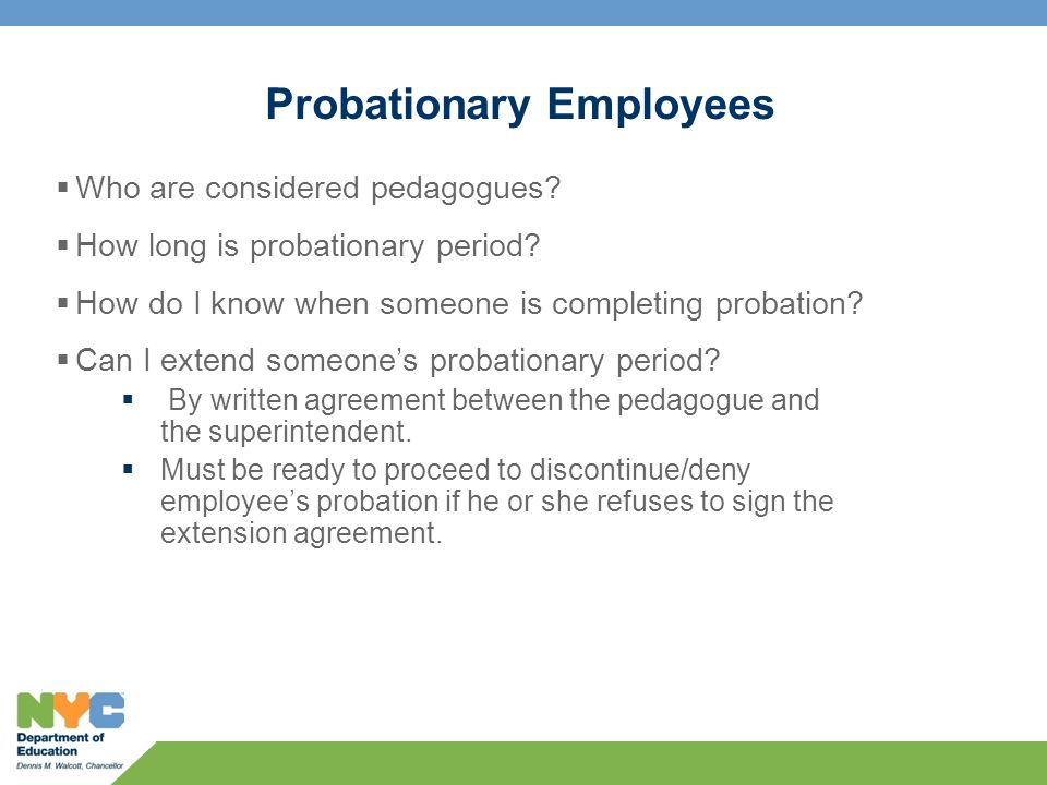 Probationary Employees  Who are considered pedagogues.