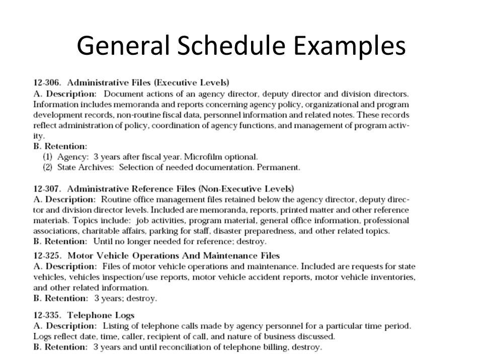 General Schedule Examples
