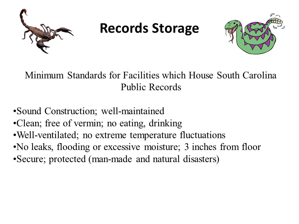 Records Storage Minimum Standards for Facilities which House South Carolina Public Records Sound Construction; well-maintained Clean; free of vermin; no eating, drinking Well-ventilated; no extreme temperature fluctuations No leaks, flooding or excessive moisture; 3 inches from floor Secure; protected (man-made and natural disasters)