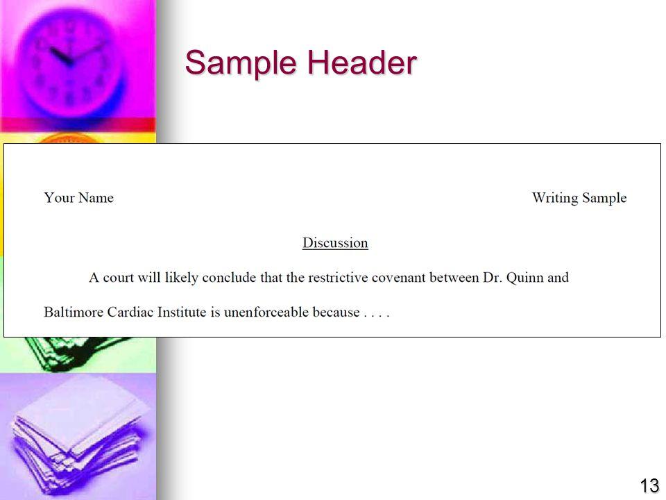 Sample Header 13
