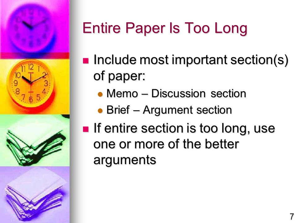 Entire Paper Is Too Long Include most important section(s) of paper: Include most important section(s) of paper: Memo – Discussion section Memo – Disc