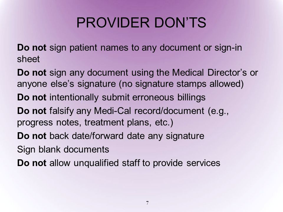 DISCHARGE SUMMARY Section 51341.1(h)(6)(B) 48 When a provider has lost contact or the Beneficiary is not available for 30 days, the provider will complete a Discharge Summary that shall include: Duration of treatment as determined by admission and discharge dates Reason for discharge Narrative summary of treatment episode Beneficiary's prognosis
