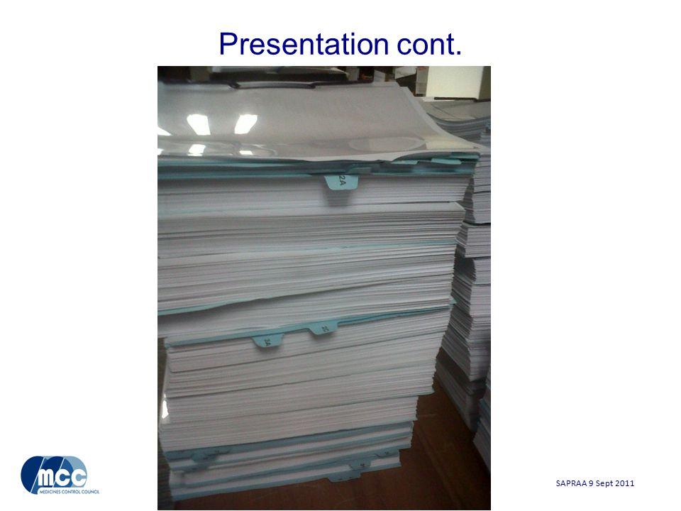 SAPRAA 9 Sept 2011 Presentation cont.