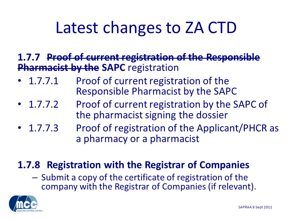 SAPRAA 9 Sept 2011 Latest changes to ZA CTD cont.