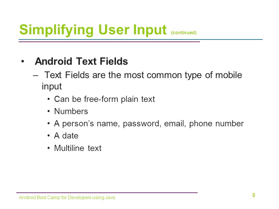 Simplifying User Input (continued) 19 Android Boot Camp for Developers using Java Figure 3-29 Adding a TextView control to display results