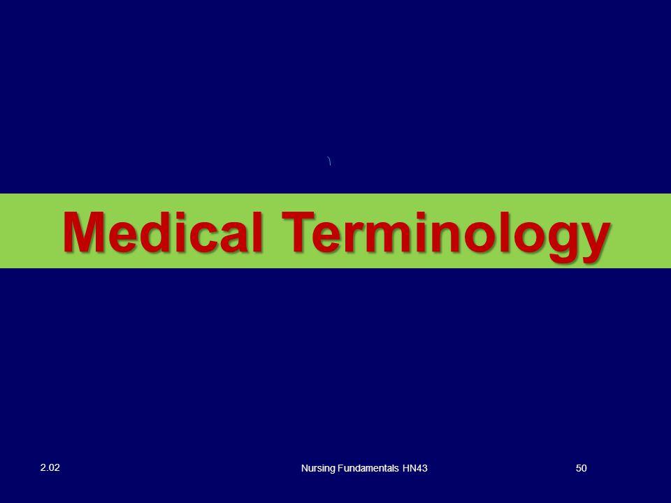 Nursing Fundamentals HN4350 2.02 Medical Terminology