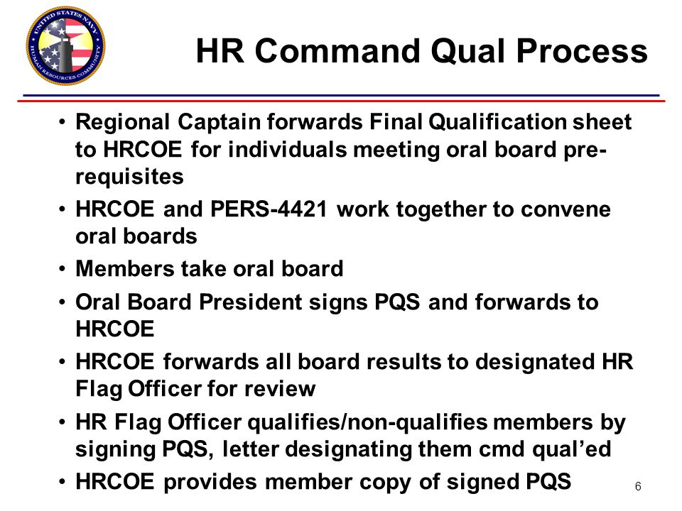 PERS-4421 makes record entry –Qualified: AQD –Non-qualified: PRSN note Administrative boards screen only qualified officers for command PERS-4421 makes record entry –Screened for command: Command Screen Result (CSR) Code Detailers assign only command-screened officers to command billets HR Command Qual Process 7