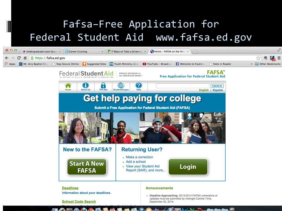 Fafsa–Free Application for Federal Student Aid www.fafsa.ed.gov
