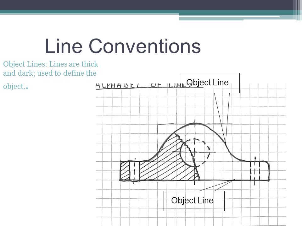 Line Conventions Object Lines: Lines are thick and dark; used to define the object.. Object Line