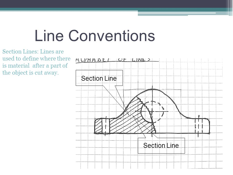 Line Conventions Section Lines: Lines are used to define where there is material after a part of the object is cut away. Section Line