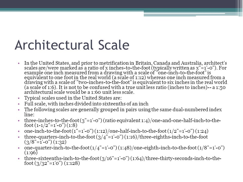 Architectural Scale In the United States, and prior to metrification in Britain, Canada and Australia, architect's scales are/were marked as a ratio o