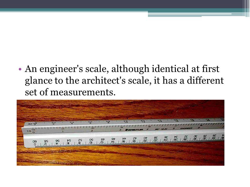 Typical engineering scales RATIOSCALEDECIMALRECIPROCAL 1:01FULL11x 1:026 =1 -0 0.52x 1:043 =1 -0 0.254x 1:081-1/2 =1 -0 0.1258x 1:163/4 =1 -0 0.062516x 1:241/2 =1 -0 0.041724x 1:323/8 =1 -0 0.0312532x 1:481/4 =1 -0 0.020848x 0.086111113/16 =1 -0 0.015664x 0.108333331/8 =1 -0 0.010496x 0.130555563/32 =1 -0 0.0078128x