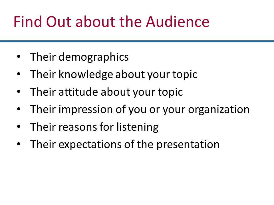 Their demographics Their knowledge about your topic Their attitude about your topic Their impression of you or your organization Their reasons for lis