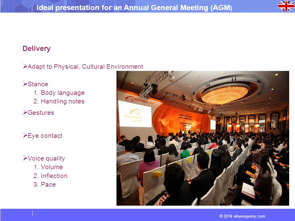 Ideal presentation for an Annual General Meeting (AGM ) © 2014 wheresjenny.com Delivery  Adapt to Physical, Cultural Environment  Stance 1. Body lan