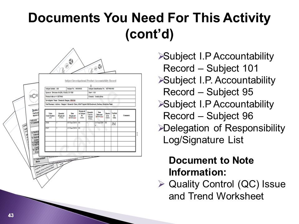 Documents You Need For This Activity (cont'd) 43  Subject I.P Accountability Record – Subject 101  Subject I.P.