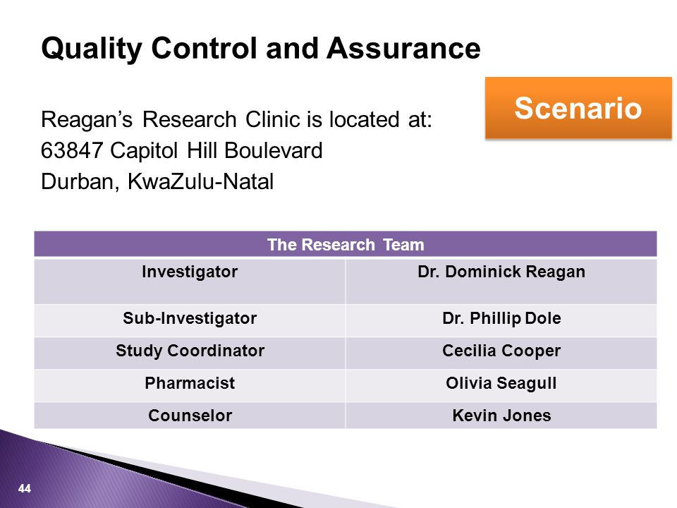 Reagan's Research Clinic is located at: 63847 Capitol Hill Boulevard Durban, KwaZulu-Natal 44 The Research Team InvestigatorDr.