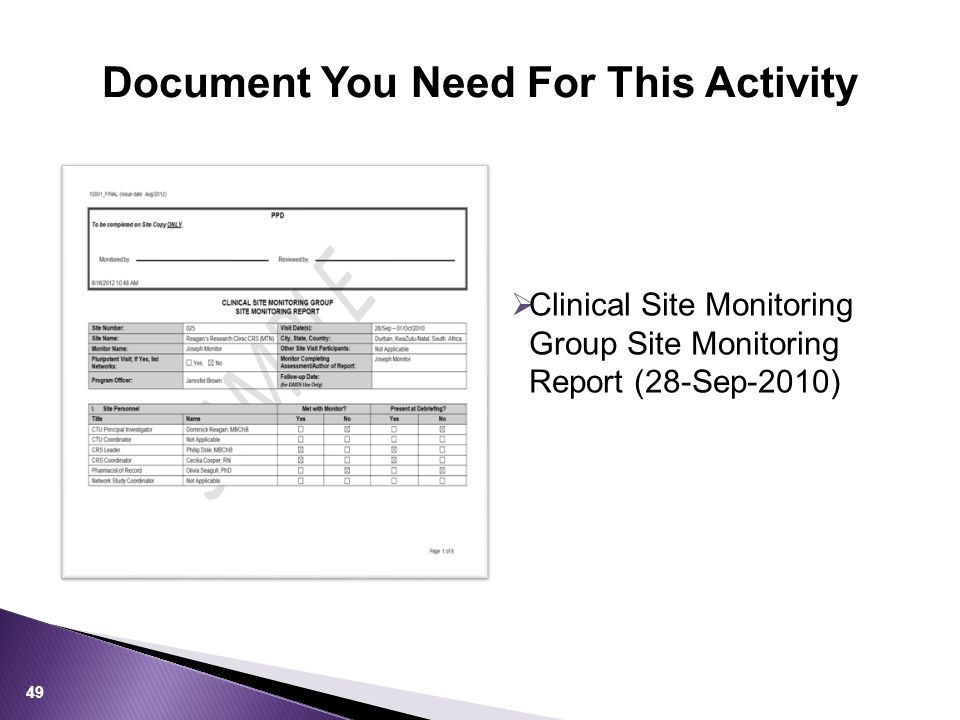 Document You Need For This Activity 49  Clinical Site Monitoring Group Site Monitoring Report (28-Sep-2010)