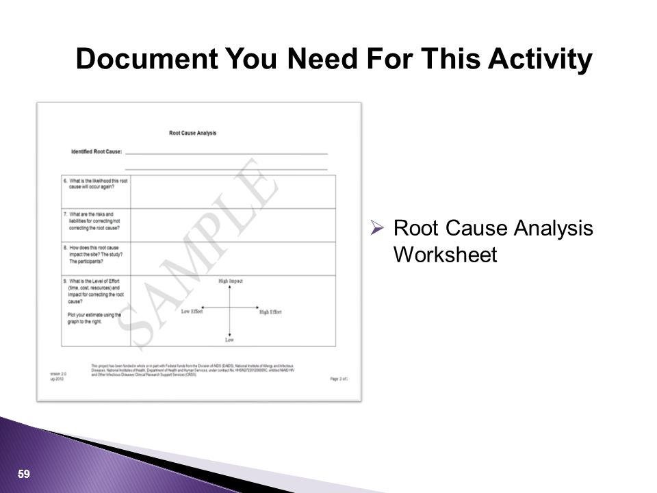 Document You Need For This Activity 59  Root Cause Analysis Worksheet
