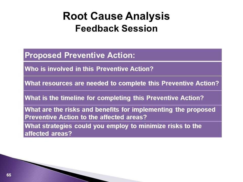 65 Proposed Preventive Action: Who is involved in this Preventive Action.