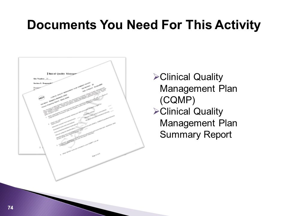 Documents You Need For This Activity 74  Clinical Quality Management Plan (CQMP)  Clinical Quality Management Plan Summary Report