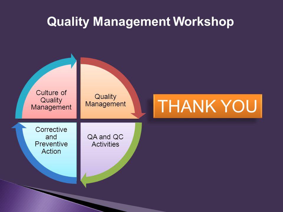 Quality Management Workshop THANK YOU